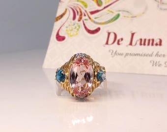 6 ct Morganite & Topaz Ring in 14K Yellow Gold / Natural Pink Morganite Pink Beryl / De Luna Gems / Free Shipping!