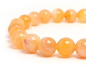 8mm Orange Botswana Agate Stretch Bracelet