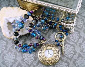 Bold Statement Pocket Watch Necklace, Blue, Purple and Black Feminine Steampunk Design