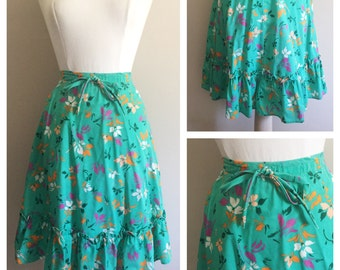 Green Floral Prairie Skirt // Floral Skirt by All Together Now