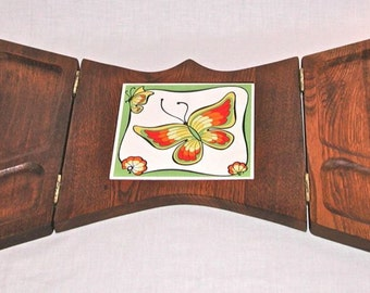 Vintage handcrafted cheese wooden tray butterfly ceramic tile art painted unique hinged wall decor Japan 20x14