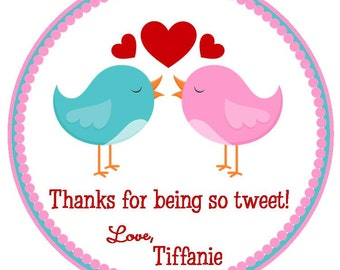 Tweet Bird Valentine's Favor Tags or Stickers