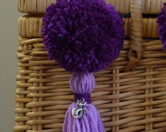 Lavender and Purple Pom Pom & Tassel Clip-on with Cat Charm -  Keychain, Beach Bag or Backpack Flair Clip