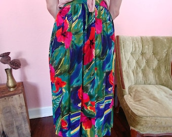 Vintage Alfred Dunner Skirt // Bright Floral Skirt // Tropical Pattern Skirt // Hawiian Getaway Skirt // Vintage Vacation //