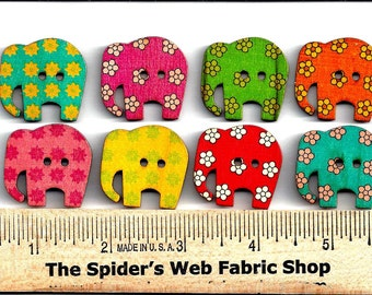 WOODEN ELEPHANT BUTTONS  - 2 Hole - Sew Through - Painted