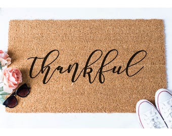 Thankful Doormat - Welcome Mat - Welcome Door Mat - Cute Door Mat - Unique Doormat - Doormats - Hello Mat - Cute Doormat - Thankful Decor
