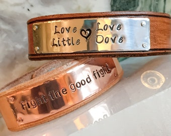 Invisible Custom Leather Cuff, Personalized leather cuff bracelet, Custom metal stamped cuff, Leather cuff, Animal Lover Bracelet Cuff