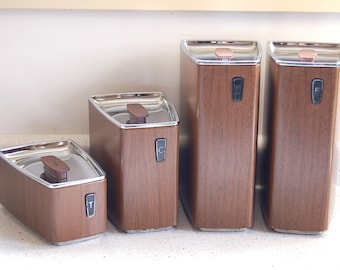 Vintage Faux Woodgrain Cannister Set of 4 Retro Kitchen Stackable Storage Tins by GSW, Canada