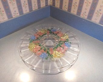 Vintage Painted Glass Cake Stand on Pedestal