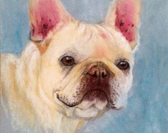Custom dog portrait , pastel pet portrait , bulldog portrait , pet painting , custom dog pastel ,  pastel painting , pastel drawing