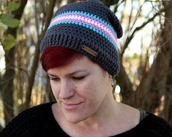Transgender Pride Slouchy Hat - Trans Pride - Winter Hat - Knit Hat - Slouchy Hat - Slouch Hat - Beanie - Winter Beanie - Slouchy Beanie