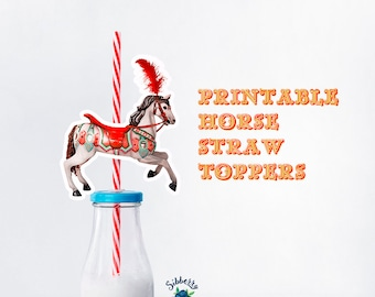 Printable Horse Straw Toppers, Circus horse, Circus theme,  Luna park, Vintage, Parthy
