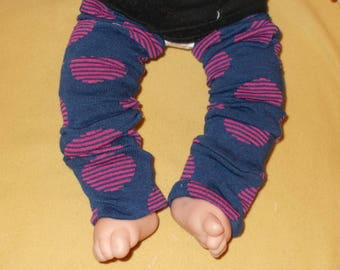 Leg warmer, Infant, Toddler - navy with fuschia circles - infant leg warmer, toddler leg warmer, baby girl leg warmer, baby leg warmer