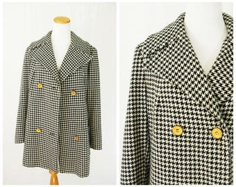 Vintage Pea Coat 60's Hounds Tooth // Double Breasted and lined in Red Satin