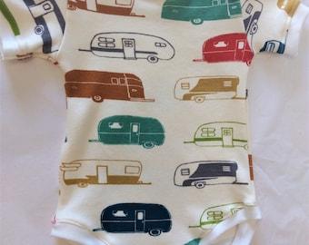 ORGANIC Baby Bodysuit Campers - Multiple Sizes - HANDMADE