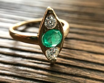 Antique 18K Yellow Gold Emerald and Diamond Ring with Appraisal Cert - Size 6.5
