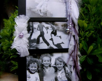 SALE Artistic Picture Frame - Crystal Angel - Collage Frame Embellished With Feathers and Jewels