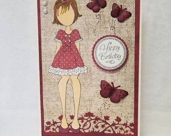 Handmade 3D Birthday Card, Child's Birthday Card, Young Girl's Birthday Card, Julie Nutting Card, Prima Paper Doll Card