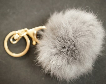 POMPON IN FUR grey  6m