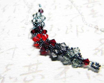 "Charcoal Grey and Ruby Swarovksi Crystal Necklace Crystal Silver Night Black Diamond Siam Beadweaving - ""Caroline"""