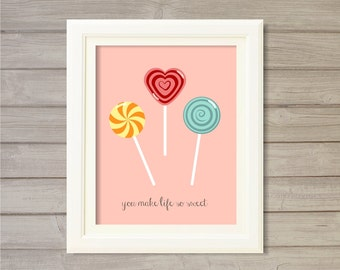 Sweet Tooth Kitchen Printable Wall Art - Lollipops Pink Coral Blush -8x10- Instant Download Digital Print Sweets Candies Candy Shop Decor