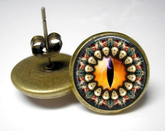 Orange Eye Mandala - 12mm Button Stud Earrings - Antique Gold - Matching Pendant and Chain Available