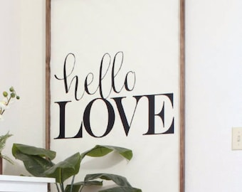 Hello Love Vinyl Wall Decal Saying Sticker