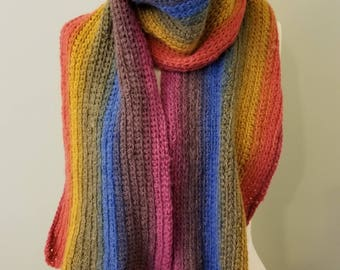 Handmade Peruvian Inspired Rainbow Crocheted  Scarf Wool Blend ~ Cruelty Free ~ Fair Trade Extra Long 64""