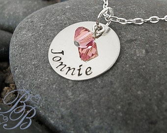 Personalized Jewelry - Mother's Necklace - Handstamped Jewelry - Name Necklace