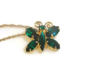 14KT Gold Filled Green Rhinestone Butterfly Necklace, Gold Filled Necklace, Rhinestone Necklace, Butterfly Jewelry, Rhinestone Jewelry