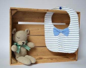 Striped bib with blue bow tie