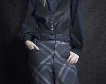 Gray tartan plaid flared pants