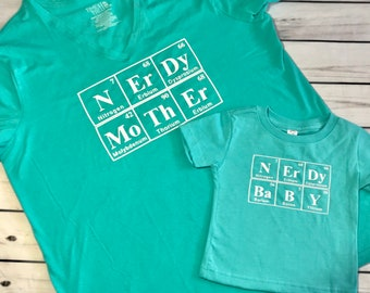 """CUSTOM Mommy and Me Set! """"Nerdy Mother/Nerdy Baby""""! Available in LOTS of colors!"""