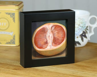 """Grapefruit, Original Food Painting, 4""""x4"""" Framed Oil Still Life"""