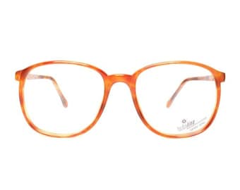 orange brown vintage eyeglasses - big square nerd glasses - large oversized tortoise frames - new old stock - sable 632