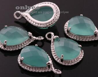 2pcs-19mmX12mmRhodium Faceted tear drop glass with rope rim pendants-Mint(M316S-D)