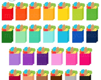 Rainbow Grocery Bags Clipart Set - clip art set of groceries, grocery bag, shopping - personal use, small commercial use, instant download