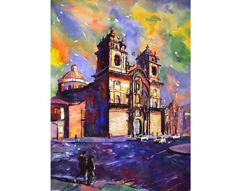 Church on Plaza de Armas in city of Cusco, Peru.  Art Peru watercolor.  Landscape Cusco photograph.  Watercolor painting Cusco.  Art print