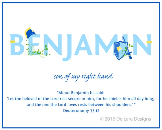 BENJAMIN Name Art Canvas with Name Meaning and Scripture Verse, 16x20 - Wall art baby name meaning