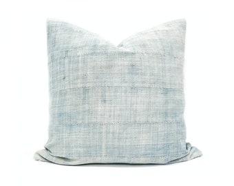 Indigo mudcloth pillow cover, various sizes light indigo pillow cover, indigo mudcloth, mudcloth pillow, denim pillow