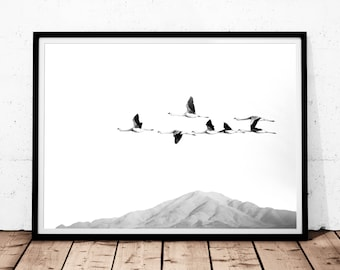 Birds Print Art, Flock of Birds Print, Flying Birds Print, Digital download, Flamingo Print, Black and White Print, Minimalist Decor, Poster