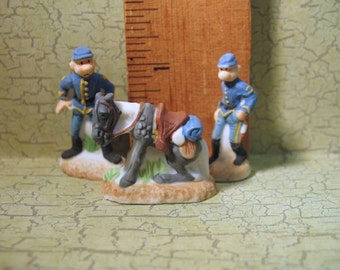 The BLUECOATS Les Tuniques Bleues Comic Book Characters - French Feve Feves Porcelain Figurine Doll House Miniatures K55
