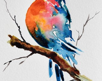 ORIGINAL Watercolor Bird Painting, Colorful Bird, Robin On A Branch 6x8 Inch