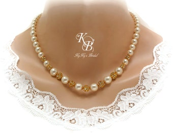 Gold Bridal Necklace Wedding Jewelry Pearl and Rhinestone Necklace Bride Jewelry Bride Necklace Pageant Jewelry Pearl Bridal Jewelry
