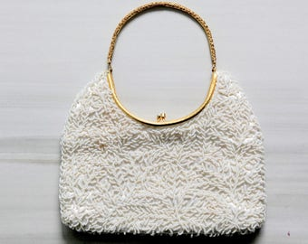 Vintage White Beaded Handbag | Satin Interior | Wedding | Gold Handle | Clutch | Bride | Dance