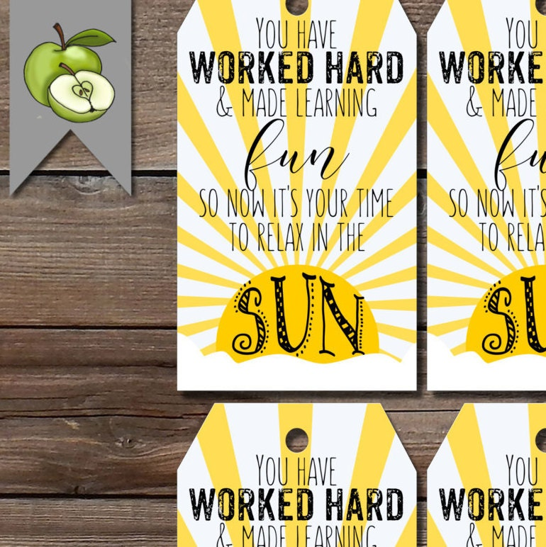 Gift tags summer sun teacher gift end of year tag beach tote this is a digital file negle Choice Image