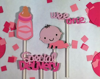 Pink baby shower cupcake toppers,boy or girl shower,gender specific,girls baby shower,boys baby shower,baby shower cupcake toppers,pink deco