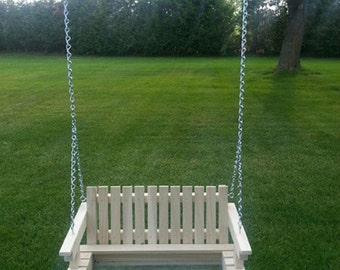Wooden Porch Swing Bird Feeder with Hanging Hardware - Unfinished