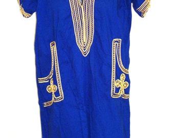 vintage EXOTIC cultural FESTIVAL royal blue gold ethnic african indigenous DRESS ld-1715