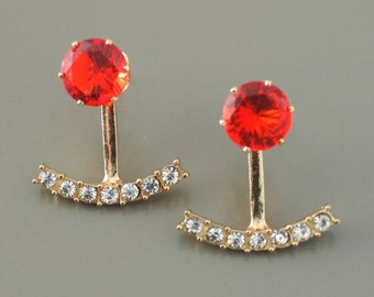 Ear Jackets - Ruby Earrings -  Gold Earrings - Crystal Ear Jackets - Stud Earrings - Trending Earrings